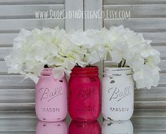 Valentine's Day Painted Mason Jars - Red, Pink, White Painted and Distressed