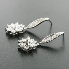 """Floral CZ earrings, 1.25"""" long."""