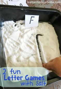 2 fun Letter Games with Salt. Sensory Letter Learning (plus free printable letter cards)
