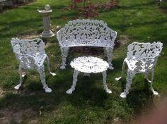Antique Cast Iron 4 Piece Patio Furniture Set/grapevine Iron Lawn Furniture  L Part 25