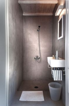 Planning to build a wetroom in the ensuite. love this concrete one.