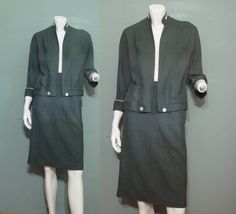 1950s Dark Gray Wool Skirt Jacket Suit Set