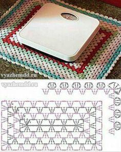 Gráficos Sousplat de Crochê quadrado