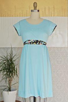 Vintage 1970s Robin's Egg Blue + Babydoll Dress