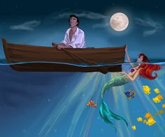 Love Between Two Worlds by MattesWorks The Little Mermaid Ariel and Eric Walt Disney movie animation enchanting fairytale.