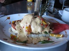 fried sage chicken benedict.