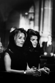 Lee Radziwill and Jackie Kennedy at the funeral of Robert Kennedy, 1968