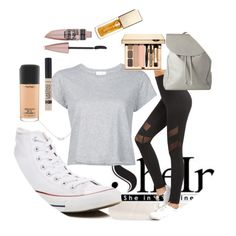 """""""SheIn High Waist Black Leggings 2"""" by jacinta203 ❤ liked on Polyvore featuring Accessorize, RE/DONE, Converse, MAC Cosmetics, Maybelline and Clarins"""