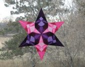 Purple and Pink Origami Window Star with Six Folded Points