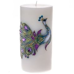 Embossed Peacock Pillar Candle - 6
