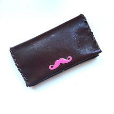 Θήκη Καπνού The Pink Mustache Mustache, Leather Case, Card Case, Wallet, Pink, Handmade, Leather Pencil Case, Hand Made, Moustache