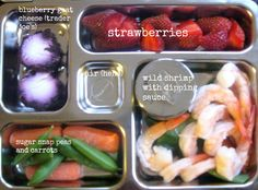 Wild shrimp with dipping sauce, sugar snap peas and carrots, blueberry goat cheese, strawberries
