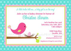 Baby Bird Invite Printable Baby Shower Invitation by Dimpleprints, $10.00