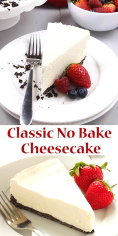 Classic No Bake CheesecakeThis Classic No Bake Cheesecake is so creamy and delicious and it's made with only 3 ingredients! It's the perfect easy dessert that you don't have to bake! Serve it with fresh berries for an easy summer treat or add whate Baked Cheesecake Recipe, Cheesecake Desserts, Köstliche Desserts, Delicious Desserts, Dessert Recipes, Cheesecake Bites, Fast And Easy Cheesecake Recipe, Simple No Bake Cheesecake, No Bake Cheescake