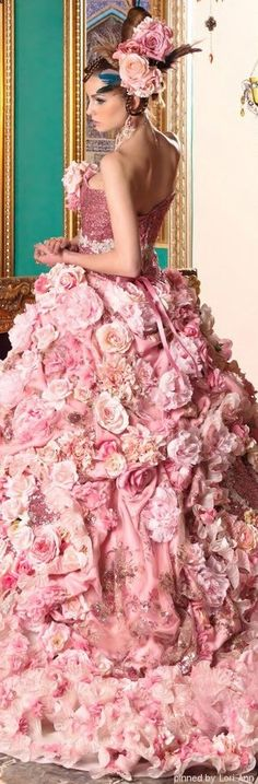 Stella de Libero ~ Pink Floral Embellished Ball Gown 2015