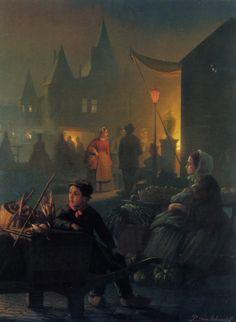"Petrus Van Schendel (1806-1870)  Petrus van Avondmarkt  Oil On Panel    56.5 x 42.8 cm  (22.24"" x 16.85"")"