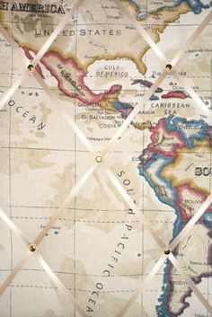 Medium Clarke & Clarke Stone Map Atlas America, Caribbean, South Pacific Ocean Hand Crafted Fabric Notice / Pin / Memo Board