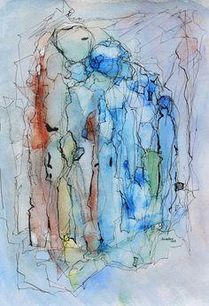 Shadows.  Watercolour on paper, 24x18 cm