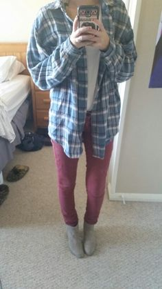 #ootd ankle boots. Red-orange skinnies. White t shirt. Flannel.