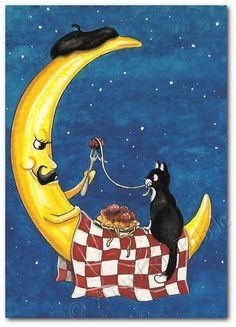 Dinner by Moonlight - Tuxedo Cat Picnic Moon - Art Print or ACEO by Bihrle ck211