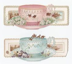 Vintage graphic of tea cups. Vintage Labels, Vintage Ephemera, Vintage Cards, Vintage Paper, Vintage Images, Decoupage Vintage, Decoupage Paper, Vintage Teacups, Etiquette Vintage