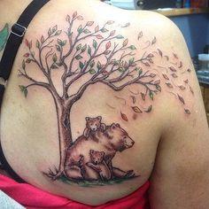 momma bear and cubs tattoo Twin Tattoos, Bear Tattoos, Family Tattoos, Mom Tattoos, Trendy Tattoos, Animal Tattoos, Body Art Tattoos, Tatoos, Rock Tattoo
