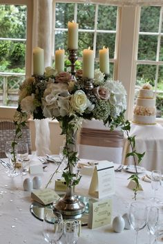 A combination of table designs were created; Baroque Candelabras & Crystal Candlesticks