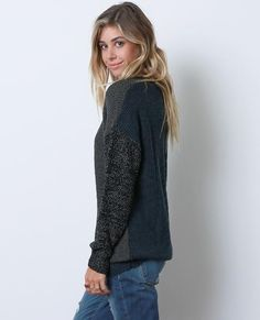 +Charcoal, teal, and black color-blocked sweater