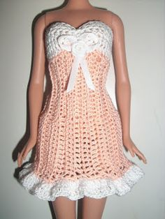 """Crochet for Barbie (the belly button body type): """"Creamsicle Cutie"""" dress"""
