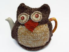 owl  tea cozy hand knitted tea cosy