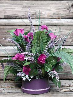 Purple Roses Silk Floral Design Purple Floral Arrangement