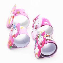 5 unids/lote Hello Kitty Princesa Party Supply Kids Slap Pulseras Brazalete Niños Fuentes Del Partido Festivo Regalo de Cumpleaños de Recuerdos(China (Mainland))