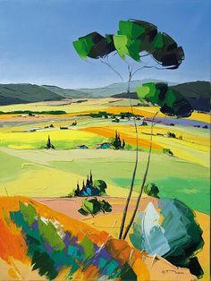 Deborah Lawrenson: Sunlit landscape by Richard Moisan Abstract Landscape Painting, Watercolor Landscape, Landscape Art, Landscape Paintings, Abstract Art, Pictures To Paint, Art Sketchbook, Painting & Drawing, Art Drawings