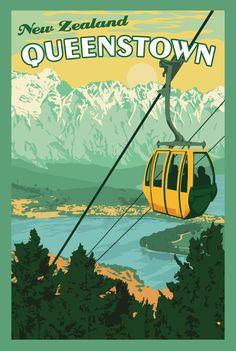 Queenstown New Zealand - Vintage Travel Poster