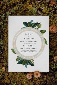 Classy green botanical Wedding Invitation by Sail and Swan Studio. The design features a modern circle shape and modern, minimal writing, with elegant green leaves and botanicals, making for a classy yet modern look. Beach Wedding Photos, Seaside Wedding, Botanical Wedding Invitations, Gold Wedding Invitations, Magnolia Leaves, Beach Wedding Inspiration, Beach Wedding Decorations, Circle Shape, Green Leaves