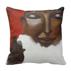 Painted artistic Buddha face pillow. A unique buddha design pillow  #buddha #face_of_buddha