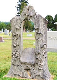 2 lives cut short - supposedly, the taller the stump the older the person. A cemetery in Ohio Cemetery Monuments, Cemetery Headstones, Old Cemeteries, Graveyards, Cemetery Angels, Pet Cemetery, Cemetery Statues, Unusual Headstones, Gardens Of Stone