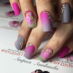 Amazing nail designs ideas you may find them on almond-shaped nails, semicircular, long nails, in form of soft oval or square or in even pointed shape Shellac Nails, 3d Nails, Coffin Nails, Matte Nails, Rose Nails, Flower Nails, Glam Nails, Beauty Nails, Nail Polish Art