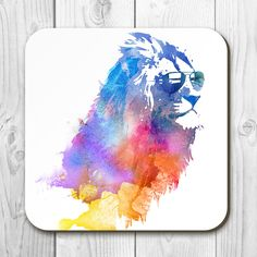 Our Sunny Leo in sunglasses coaster is of the highest quality. Solid hardboard with a gloss coating that makes the colours sing while protecting the artwork from fading and heat.  #lion #art #print