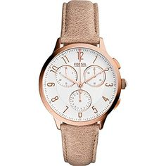 Fossil Womens CH3016 Abilene Chronograph Light Brown Leather Watch * Want to know more, click on the image.