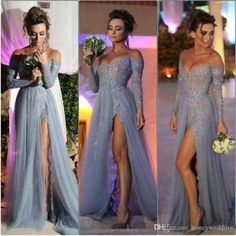 Hot Sale Silver Grey Sexy Prom Dresses Evening Wear 2015 With Off The Shoulder Long Sleeves Appliques Lace Split Formal Occasion Party Gowns 2015 Dresses Affordable Prom Dresses From Honeywedding, $128.65| Dhgate.Com