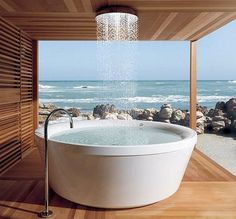 There are rooms with a view, and then there are bathrooms with a view. What better way to bathe or shower?