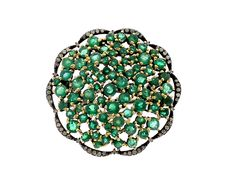 $1,826 EMERALD AND DIAMOND FLOWER RING www.ringsparadise.com