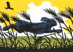 'Dashing Hare' By Printmaker Nick Wonham. Blank Art Cards By Green Pebble. www.greenpebble.co.uk