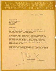 Letter from Mick Jagger to Warhol. Wear is commensurate with age.