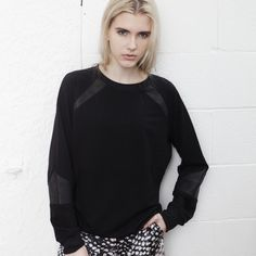 SALE! Leather splice sweatshirt in black Was $249 now $70