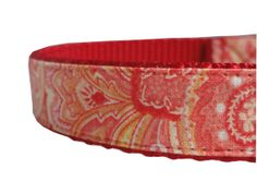 Red and Orange Paisley Adjustable Dog Collar $14.50 USD