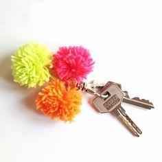 Keychain made with 3 pom-poms