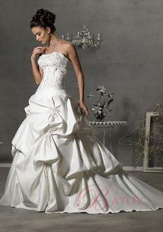 Allure Wedding Dresses Ball Gown Strapless Satin Applique Handbeading..............like the top, not the bottom