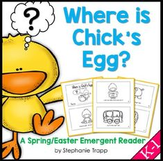 Beginning readers will enjoy helping Chick look for his lost egg in this short emergent reader with rhyming text.  The book contains CVC words, along with the sight words where, he, the, by, been, you, and for.  Click on the PREVIEW to read the ENTIRE book!In this file, you will find:-Where is Chick's Egg?